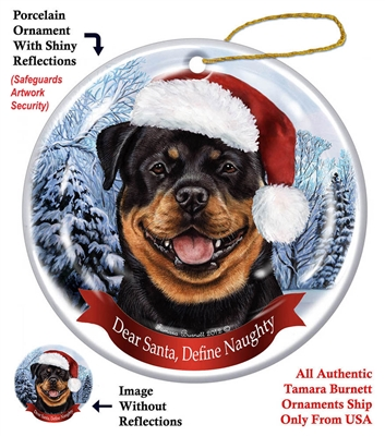 Rottweiler Holiday Ornament - Made in the USA