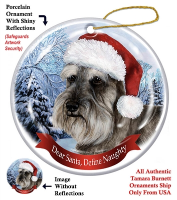 Schnauzer (Uncropped) Black Holiday Ornament - Made in the USA