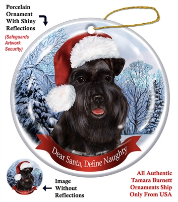 Schnauzer (Uncropped) Black Black Holiday Ornament - Made in the USA