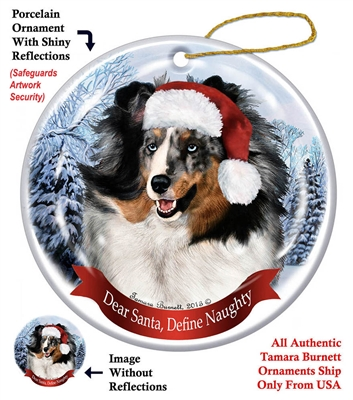 Sheltie (Blue Merle) Holiday Ornament - Made in the USA
