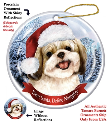 Shih-Tzu (Gold & White) Ornament - Made in the USA