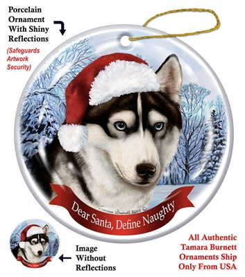 Siberian Husky (Black & White) Holiday Ornament - Made in the USA