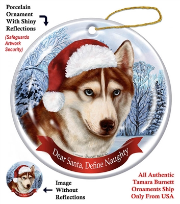 Siberian Husky (Red & White) Holiday Ornament - Made in the USA