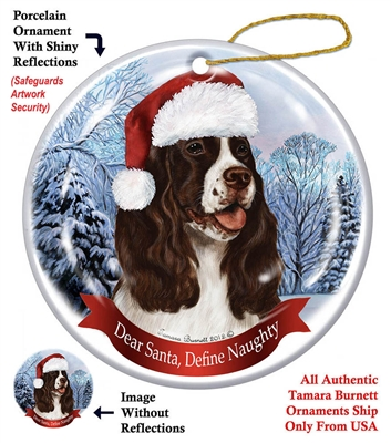 Springer Spaniel (Liver & White) Holiday Ornament - Made in the USA