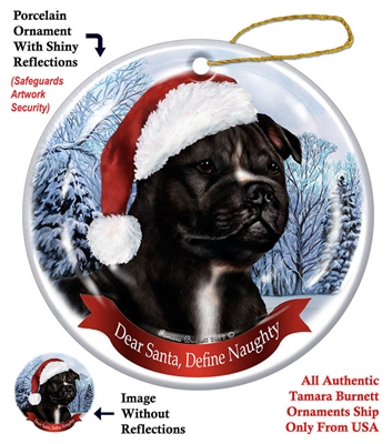 Staffordshire Bull (Black & White) Holiday Ornament - Made in the USA