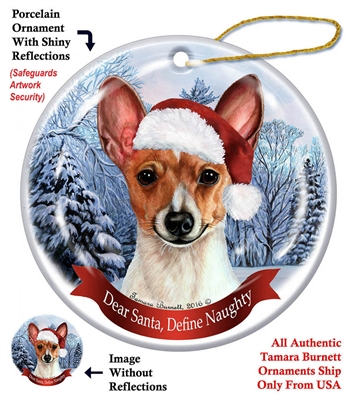 Toy Fox Terrier Red & White Holiday Ornament - Made in the USA