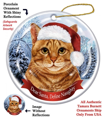 Orange Tabby Cat Holiday Ornament - Made in the USA