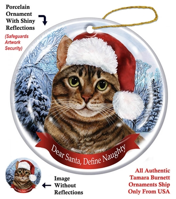 Brown Tabby Cat Holiday Ornament - Made in the USA