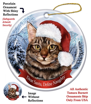 Maine Coon Brown Tabby Cat Ornament - Made in the USA