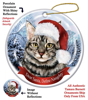Maine Coon Silver Tabby Ornament - Made in the USA