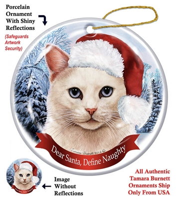 White Cat Blue Eyed Holiday Ornament - Made in the USA