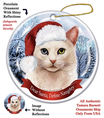 White Cat Odd Eyed Holiday Ornament - Made in the USA