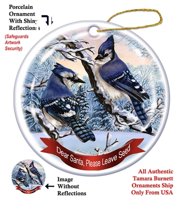 Eastern Blue Jay Holiday Ornament - Made in the USA