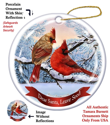 Northern Cardinal Holiday Ornament - Made in the USA