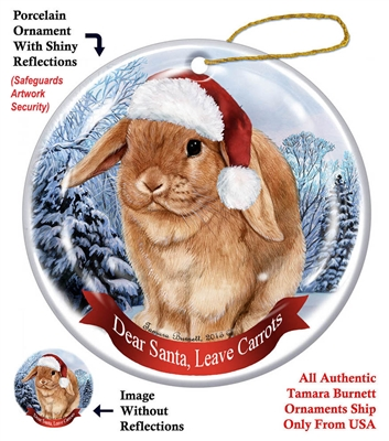 Mini Lop Rabbit Ornament - Made in the USA