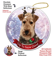 Airedale - Up to Snow Good Holiday Ornament - Made in the USA