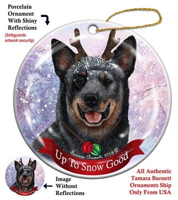 Australian Cattle Dog - Blue Tick Up to Snow Good Holiday Ornament - Made in the USA
