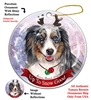 Australian Shepherd Blue Merle - Up to Snow Good Holiday Ornament - Made in the USA