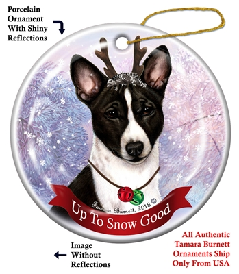 Basenji Black and White - Up to Snow Good Holiday Ornament - Made in the USA