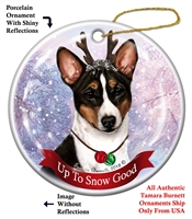 Basenji Tricolor - Up to Snow Good Holiday Ornament - Made in the USA