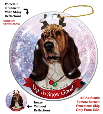 Basset Tri - Up to Snow Good Holiday Ornament - Made in the USA