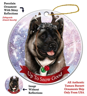 Akita Silver - Up to Snow Good Holiday Ornament - Made in the USA