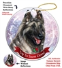 Belgian Tervuren Gray - Up to Snow Good Holiday Ornament - Made in the USA