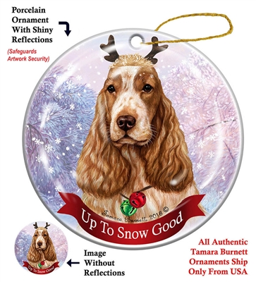 Eng Cocker Spaniel Orange Roan - Up to Snow Good Holiday Ornament - Made in the USA