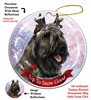 Bouvier Gray - Up to Snow Good Holiday Ornament - Made in the USA