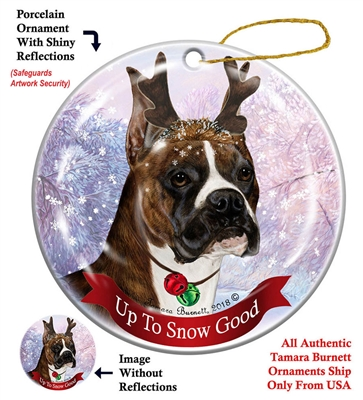 Boxer Cropped Brindle - Up to Snow Good Holiday Ornament - Made in the USA