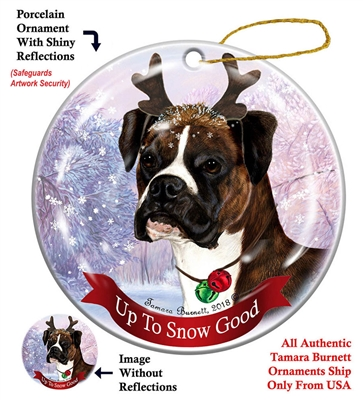 Boxer Drop Ear Brindle - Up to Snow Good Holiday Ornament - Made in the USA