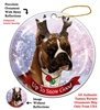 Boxer Cropped Fawn/White - Up to Snow Good Holiday Ornament - Made in the USA