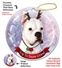 Boxer Cropped White - Up to Snow Good Holiday Ornament - Made in the USA