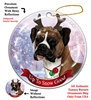 Boxer Uncropped Fawn/White - Up to Snow Good Holiday Ornament - Made in the USA
