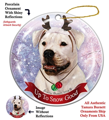 American Bulldog White - Up to Snow Good Holiday Ornament - Made in the USA