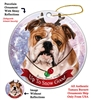 English Bulldog Brindle - Up to Snow Good Holiday Ornament - Made in the USA