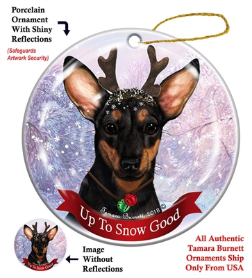 Chiweenie Black/Tan - Up to Snow Good Holiday Ornament - Made in the USA