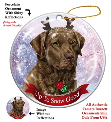 Chesapeake Bay Retriever - Brown - Up to Snow Good Holiday Ornament - Made in the USA