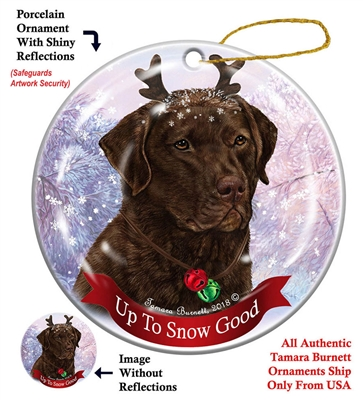 Chesapeake Bay Retriever - Dark Brown - Up to Snow Good Holiday Ornament - Made in the USA