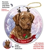 Chesapeake Bay Retriever - Red - Up to Snow Good Holiday Ornament - Made in the USA