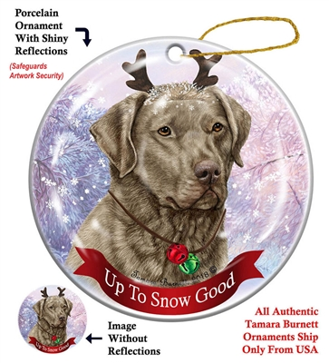 Chesapeake Bay Retriever - Sage - Up to Snow Good Holiday Ornament - Made in the USA