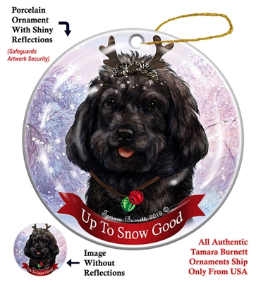 Cockapoo Black - Up to Snow Good Holiday Ornament - Made in the USA