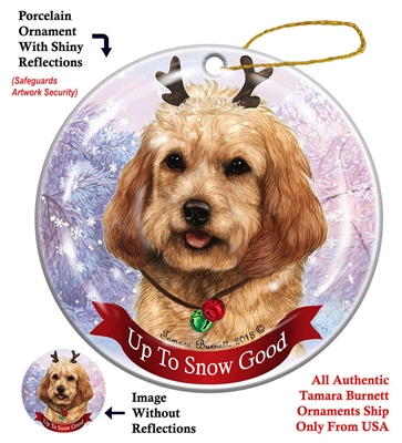 Cockapoo Buff - Up to Snow Good Holiday Ornament - Made in the USA