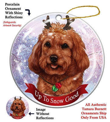 Cockapoo Red - Up to Snow Good Holiday Ornament - Made in the USA