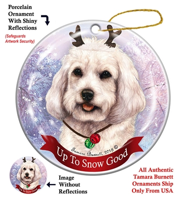 Cockapoo White - Up to Snow Good Holiday Ornament - Made in the USA