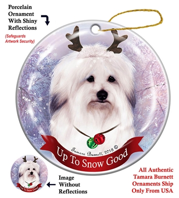 Coton De Tulear - Up to Snow Good Holiday Ornament - Made in the USA