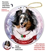 Sheltie Blue Merle - Up to Snow Good Holiday Ornament - Made in the USA