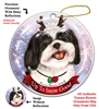 Shih Tzu Black/White - Up to Snow Good Holiday Ornament - Made in the USA