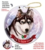 Siberian Husky Blue Eye Black/White - Up to Snow Good Holiday Ornament - Made in the USA