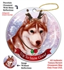 Siberian Husky Brown Eye Red/White - Up to Snow Good Holiday Ornament - Made in the USA
